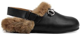 Gucci Children's Horsebit leather slipper with faux fur