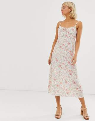 20be4b85afd New Look gather front strappy midi dress in white floral print