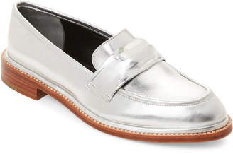 Robert Clergerie Silver Roette Metallic Penny Loafers