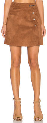 1 STATE Side Button A Line Mini Faux Suede Skirt