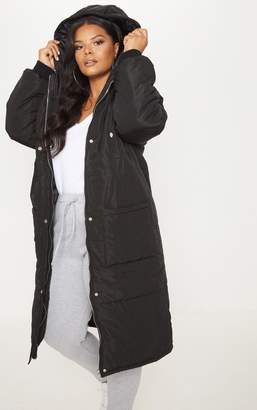 PrettyLittleThing Plus Black Longline Puffer Coat