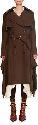 Chloé Double-Breasted Belted Drape-Side Wool Trench Coat