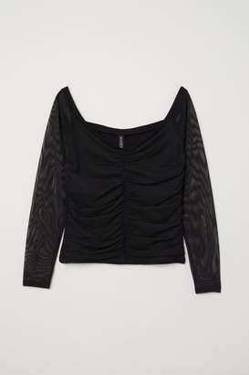 H&M Off-the-shoulder Mesh Top - Black