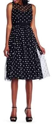 Adrianna Papell Polka Dot Tea-Length Dress