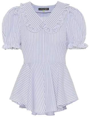 ALEXACHUNG Striped cotton blouse