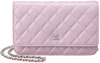 Chanel Purple Quilted Lambskin Leather Wallet On Chain