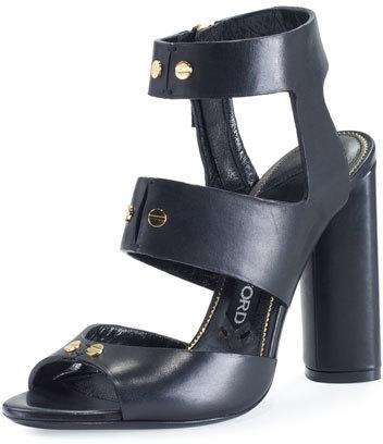 TOM FORD Rivet Leather 105mm Sandal, Black