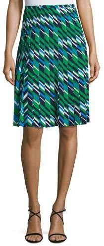 Michael Kors Collection Striped Multi-Pleat A-Line Skirt, Maritime/Multi