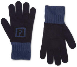 Fendi Logo-Intarsia Colour-Block Wool And Cashmere-Blend Gloves