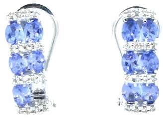 14K White Gold Tanzanite & Diamond Earrings