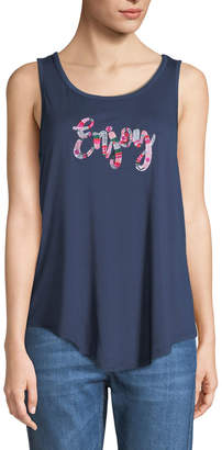 Neiman Marcus Enjoy Embroidered Swing Tank