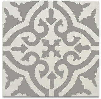 Moroccan Mosaic Tile House Argana 8 x 8 Handmade Cement Tile in Gray and White