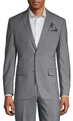 Tallia Orange Windowpane Wool Suit Jacket