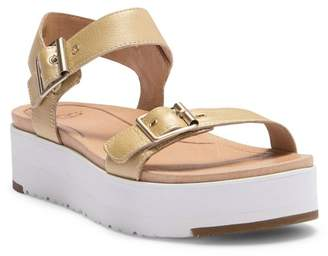 UGG Angie Metallic Leather Platform Sandal
