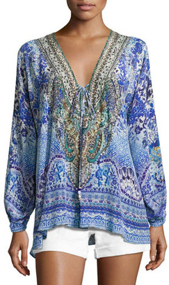 Camilla Embellished Silk Lace-Up Blouse, Guardian of Secrets $450 thestylecure.com