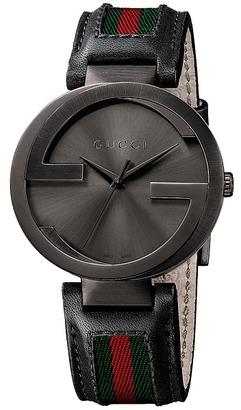 Gucci - Interlocking 42mm Leather and Nylon Strap Watch-YA133206 Watches $1,150 thestylecure.com
