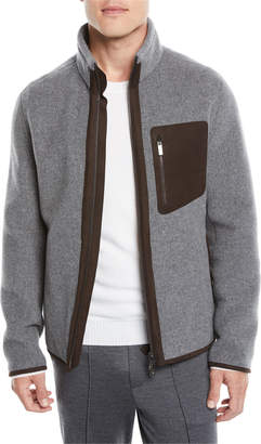 Ermenegildo Zegna Men's Felted Wool/Cashmere Zip-Front Sweatshirt Jacket