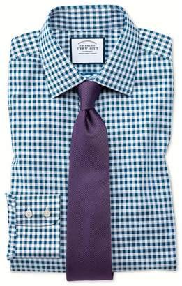 Charles Tyrwhitt Slim Fit Non-Iron Gingham Teal Cotton Dress Shirt Single Cuff Size 16/33