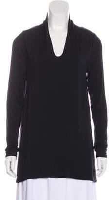 Calypso Split Neck Long Sleeve Tunic Black Split Neck Long Sleeve Tunic
