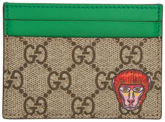 Gucci Beige GG Supreme Monkey Card Holder