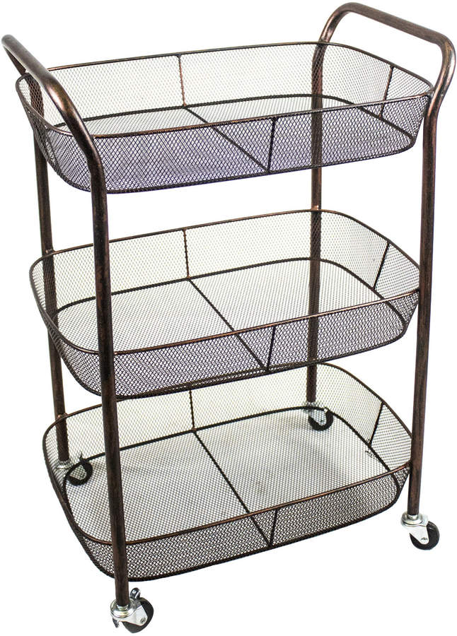 Sagebrook Home 3-Tier Metal Basket Cart