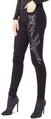 Liverpool Kayden Embroidered Skinny Jeans in Black Rinse