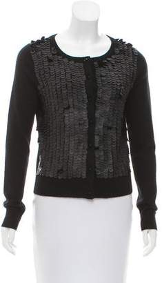 A.L.C. Leather-Trimmed Cashmere Cardigan