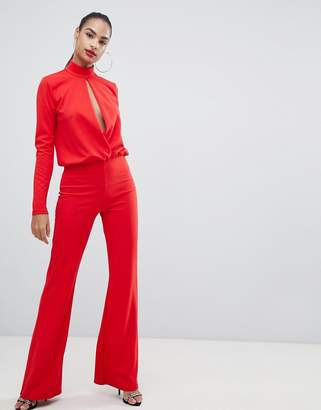 PrettyLittleThing keyhole cut out jumpsuit in red