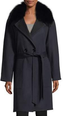 Sofia Cashmere Double-Faced Raglan Sleeve Fox-Fur Wrap Coat