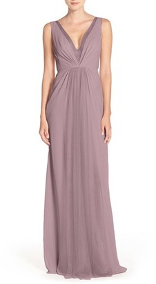 Women's Monique Lhuillier Bridesmaids Deep V-Neck Chiffon & Tulle Gown $290 thestylecure.com