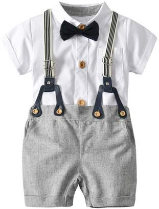 Goodtrade8® Clearance Sale! Toddler Baby Boy 4 Piece Outfit Gentleman Bowtie Suspenders Shorts Short Sleeve Bodysuit Shirt Boaysuit Overall Pants Clothes