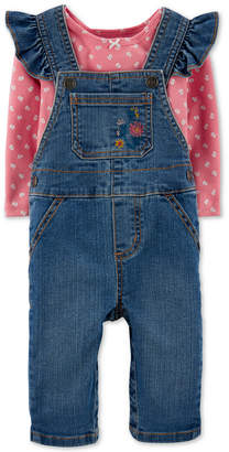 Carter's Carter Baby Girls 2-Pc. T-Shirt & Denim Overalls Set