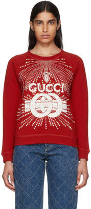 Gucci Red Crystal Logo Sweatshirt
