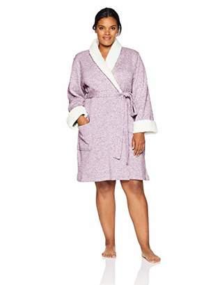Arabella Women's Plus Size Sweater Fleck Shawl Collar Wrap Robe