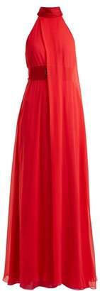 Galvan - Flamingo Halterneck Silk Crepe Gown - Womens - Red