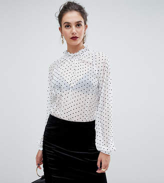 Y.A.S Tall dot sheer blouse