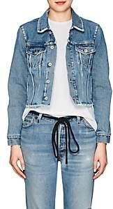 Off-White Women's Floral Denim Crop Jacket-Lt. Blue