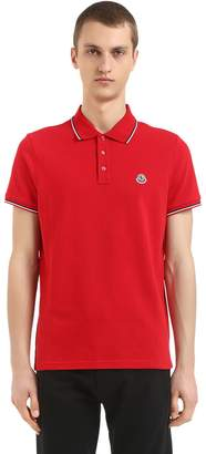 Moncler Logo Stripes Cotton Piqué Polo Shirt