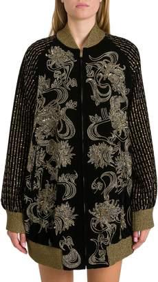 Saint Laurent Long Velvet Varsity Jacket