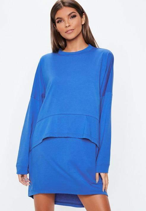 Blue Oversized Jersey Overlay T Shirt Dress, Blue