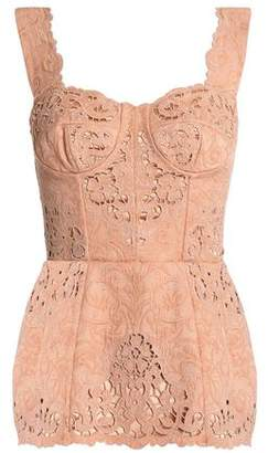 Dolce & Gabbana Broderie Anglaise-Trimmed Cotton-Blend Jacquard Bustier Top