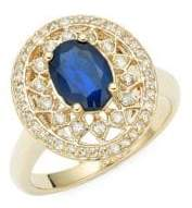 Effy 14K Yellow Gold, Sapphire & Diamond Ring
