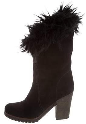 Prada Sport Faux Fur Trim Ankle Boots