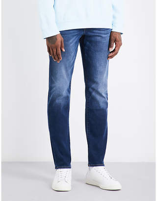 True Religion Mens Blue Contrast Stitch Concealed Zip Geno Slim-Fit Relaxed