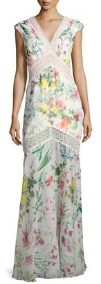 Tadashi Shoji Sleeveless Floral Chiffon Column Gown, White/Multicolor $590 thestylecure.com
