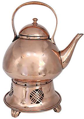 One Kings Lane Vintage Antique English Copper Teapot & Warmer - Rose Victoria