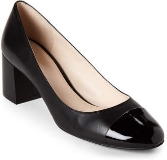 Cole Haan Black Dawna Cap Toe Block Heel Pumps