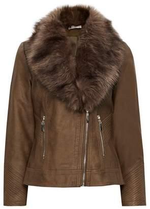 Wallis Petite Tan Faux Fur Biker Jacket