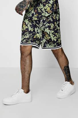 boohoo Baroque Print Sports Rib Basketball Shorts Co-ord