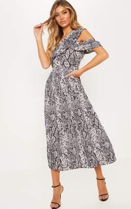 PrettyLittleThing Grey Snake Print One Shoulder Ruffle Detail Pleated Midi Dress